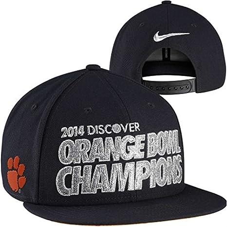9b85668a3b69 Amazon.com   Nike Clemson Tigers 2014 Orange Bowl Champions Locker Room  Players Snapback Hat - Black   Sports   Outdoors