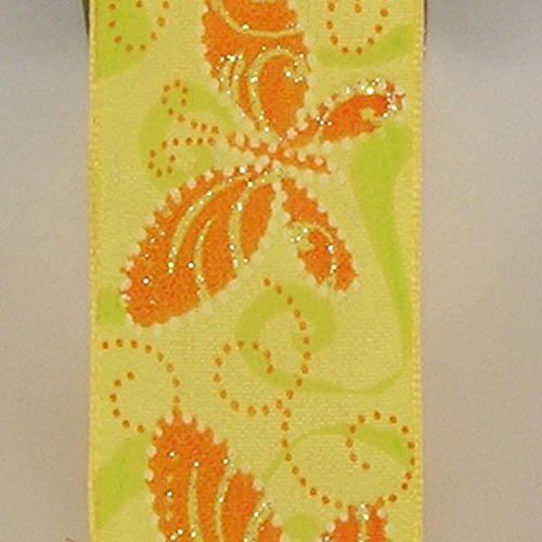 Yellow Butterfly Print Taffeta Wired Craft Ribbon 1.5