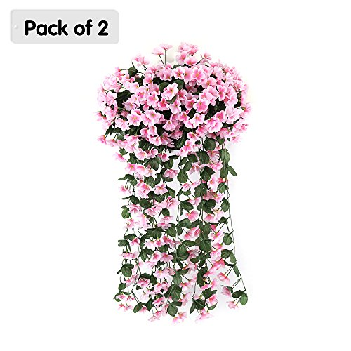 Price comparison product image Zhi Jin Silk Artificial Violet Vines Hanging Plants Fake Flowers Garland Garden Wedding Home Decorative Pack of 2 Pink