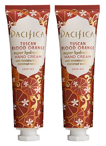 Pacifica Tuscan Blood Orange Super Hydrating Hand Cream (Pack of 2) with Shea Butter, Sweet Almond Oil, Olive Oil, Kelp Extract, Olive Oil and Grape Seed Oil, 100% Vegan and Cruelty-Free, 2.25 oz