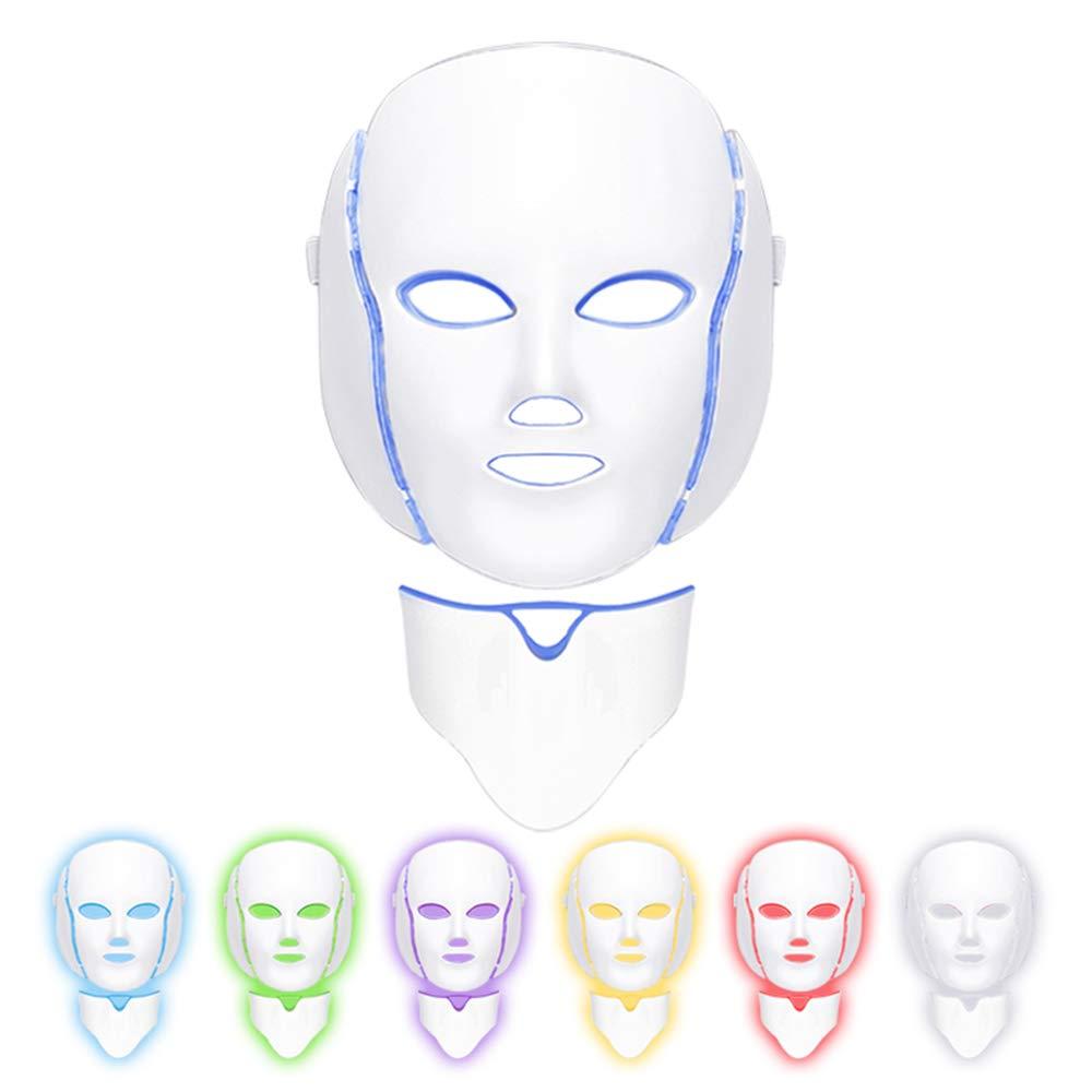 7色LEDフェイスマスク健康的な肌の若返り7色ライトフェイス美容スキンケア付きネックマスク、アンチエイジング、しわ,EUplug B07V4Z5244  EUplug