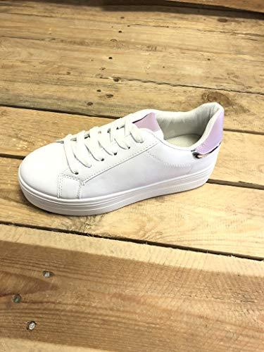 5 Donna Grigio Moda Sneaker Comfortable Tacco Piatto Tennis 4 Basic Scarpe Lucide Angkorly Cm W1PRqAf