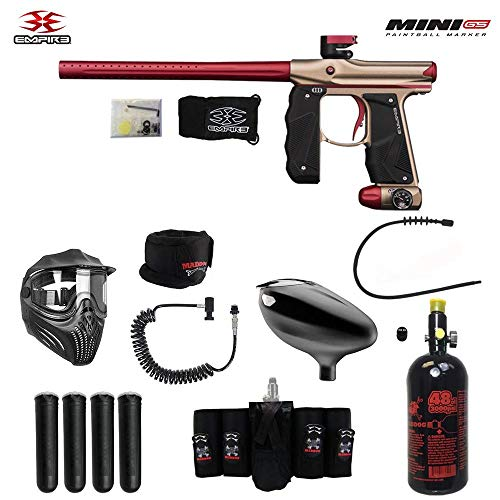 MAddog Empire Mini GS Elite Remote HPA Paintball Gun Package - Dust Tan/Red