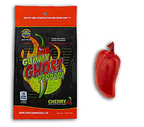 Ghost Pepper Insane Heat Gummy Candy - Cherry Flavored Ghost Pepper Candy Made With Real Ghost Pepper - Chile Shaped And Hot - 1.75oz Retail Bag (The Best Chips Ever)