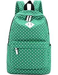 Yiuswoy Casual Style Cute Polka Dots Canvas Backpack With Laptop Lining