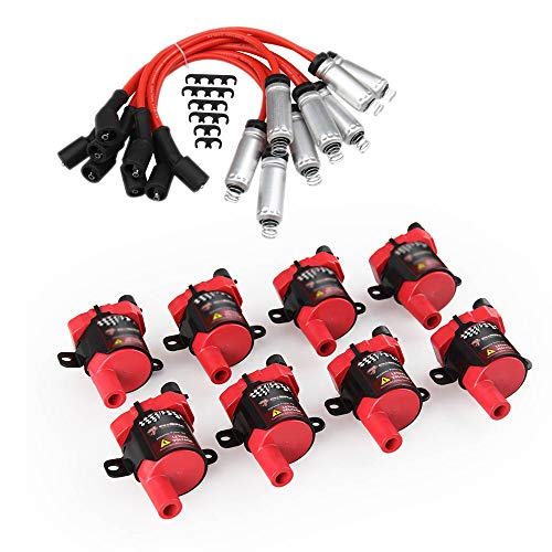 D585 Ignition Coils 8 Spark Plug Pack For Chevy Silverado LS1 LS3 4.8 5.3L+748UU Spark Plug Wire Set for V8 Chevy Silverado 1500 2500 Tahoe Suburban GMC Sierra Savana Yukon XL 1500 2500