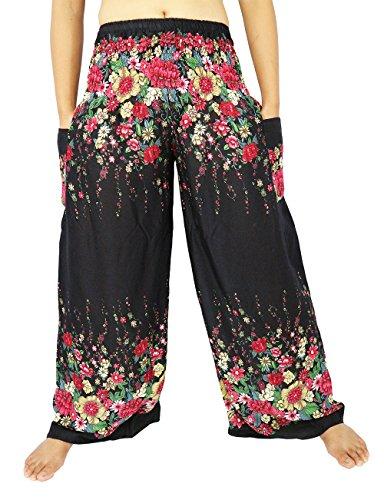 [Lek Boutique Womens Harem Trousers Smocked Waist 21-38 Inchs 100% Rayon US Size 0-12 (AF Black)] (Hobo Costume For Toddler)