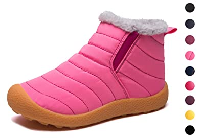 8b2a265dd Image Unavailable. Image not available for. Colour: Yooeen Kids Snow Boots  Boys Girls Fur Lined Boots Winter Warm Hiking Walking Shoes ...