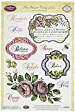 Justrite Clear Stamp Set, 6-Inch x 8-Inch, Rose Bouquet Vintage Labels Seven