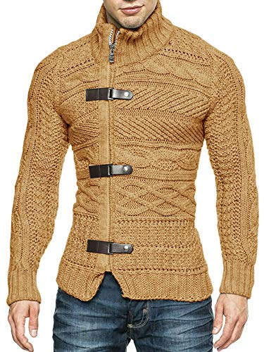 Hestenve Mens Grey Sweater Cable Knitted Turtleneck Zip Button Front Winter Cardigan Pullover (XX-Large, Brown)