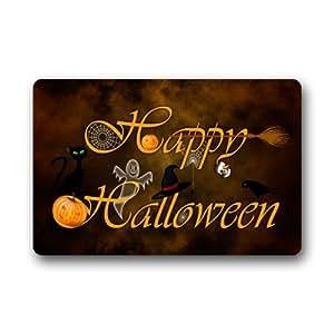 """Funny Happy Halloween símbolo fantasma gato arte Felpudo alfombra Felpudo para interior/exterior/suelo alfombra para el hogar/oficina/dormitorio 23.6""""(L) X 15,7(W)"""