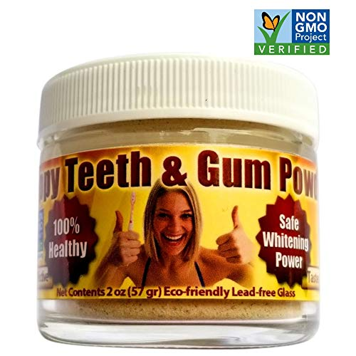 Gum Disease Help - Organic Tooth Powder - Happy Teeth & Gum Recession Help, Gingivitis, Plaque, Bleeding, Sensitivity, Inflammation, Bad Breath - Xylitol, Peppermint - Whitening, Anti-Cavity