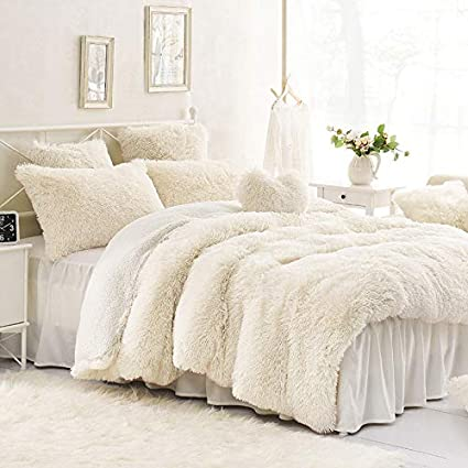 Sleepwish Cream White Plush Duvet Cover Set Faux Fur Bedding Twin Full Queen And King Size Bedding Set With Blanket Cover And Two Pillow Shams