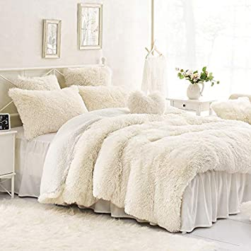 Sleepwish Cream Faux Fur Bedding Luxury Plush Shaggy Duvet Cover Set 3 Piece Teens White Cozy Fluffy Comforter Quilt Cover Twin Size