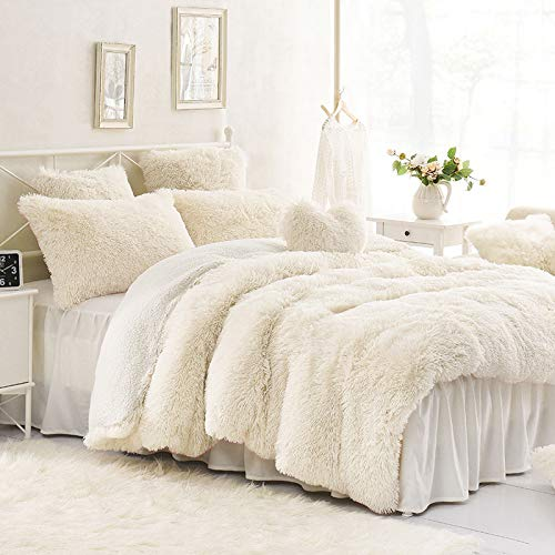 Sleepwish Cream White Plush Duvet Cover Set - Faux Fur Bedding, Twin, Full, Queen, and King Size - Bedding Set with Blanket Cover and Two Pillow Shams - Ultra Soft and Comfortable - Cute Room Decor (Bed Black Sets Cream And)
