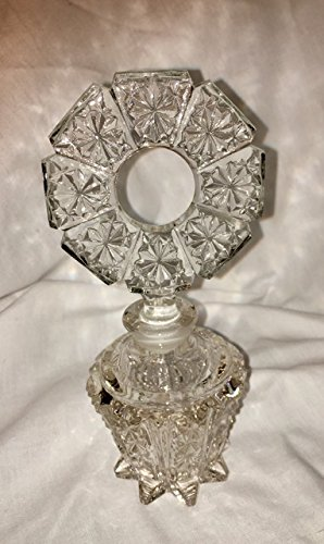 (Vintage Glass Perfume Bottle with Circular Stopper (6