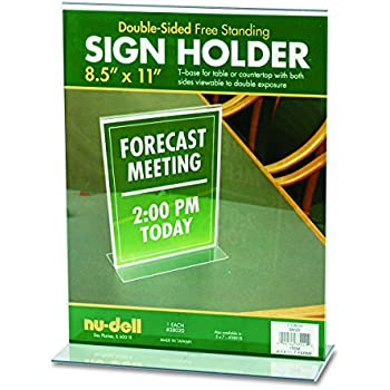 Nu-Dell 8.5 x 11 Inches  T-Shaped Sign Holder, Clear