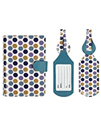 JAVOedge Purple / White Polka Dots RFID Blocking Snap Closure Passport Case with Pen Holder and 2 Matching Luggage Tags