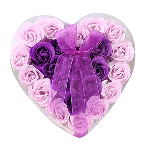 24Pcs Heart Scented Bath Body Petal Rose Flower Soap ,Vinjeely for Wedding Decoration Gift (Purple)