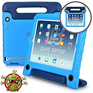 Apple iPad 4 3 2 case - [World's First Anti Microbial Case for Kids] PURE SENSE BUDDY Rugged Children Protective Boys Cover + Shoulder Strap, Handle, Stand, Cleaning Kit, Screen Protector