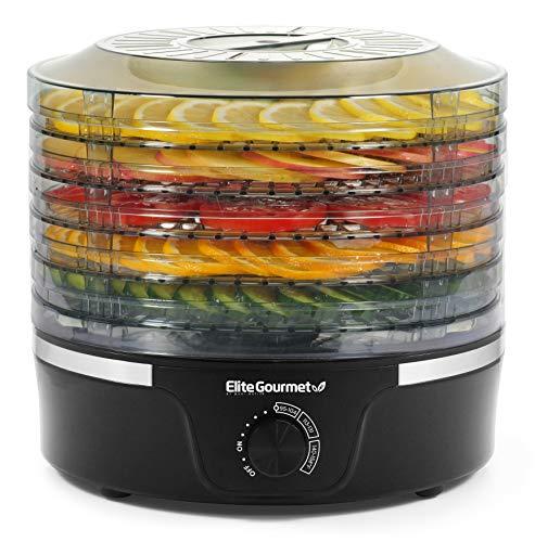 Elite Gourmet Food Dehydrator, 5 BPA-Free Stackable Trays for Jerky Herbs Fruit Veggies Snacks, Black