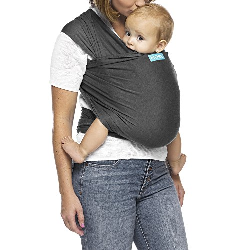 Moby Evolution Baby Wrap Carrier (Charcoal) - Toddler, Infant, and Newborn Wrap Carrier - Wrap Baby Carrier Ideal for Parents On The Go - Ergonomic Baby Wrap for Mom Or Dad - A Registry Must Have (Best Baby Carrier For Tall Parents)