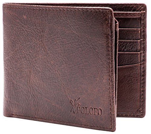 RFID Blocking Genuine Leather Bifold Wallet for Men with Zipper and 2 ID Windows (Dark brown with back pocket)