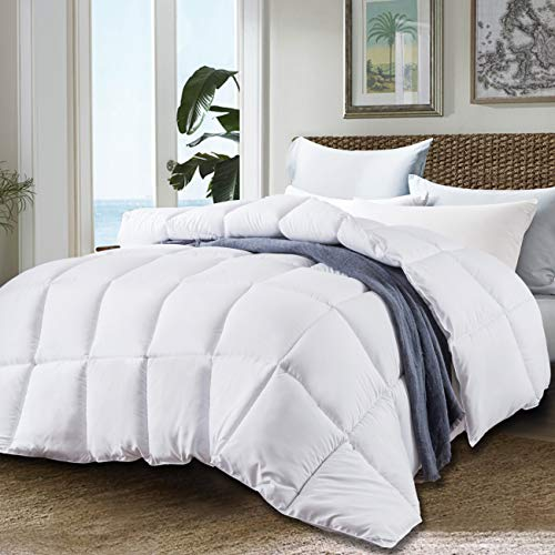 JURLYNE Clearance Sale, White Comforter King & Cal King Size - Quilted Reversible Duvet Insert - Hypoallergenic Breathable for Winter - Fluffy Cotton Down Alternative Comforter