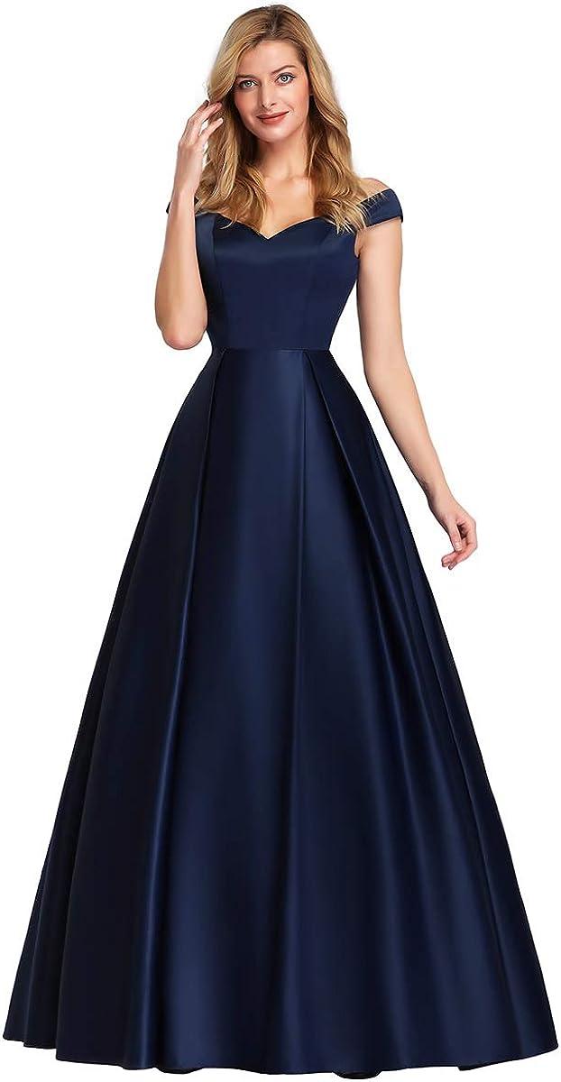 Ever-Pretty Robe de Bal Soir/ée Gala /Épaules D/énud/ées A-Line /Él/égante Longue Satin Femme 07934