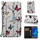 Galaxy J3 Case,Galaxy Amp Prime Case,Galaxy Express Prime Case,ARSUE PU Leather Wallet Protective Case Cover with Kickstand and Card Slot for Samsung Galaxy J3 (2016) / Galaxy J3 V(Colorful Butterfly)
