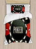 Poker Tournament Twin Size Duvet Cover Set by Ambesonne, Casino Chip with Poker Word in Center Rich Icon Card Suits, Decorative 2 Piece Bedding Set with 1 Pillow Sham, Army Green Vermilion White