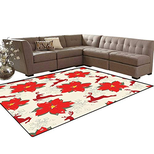 (Christmas Anti-Skid Area Rugs Vibrant Poinsettia Flowers with Galloping Reindeers and Snowflake Figures Customize Door mats for Home Mat 6'x8' Scarlet Ruby Beige)