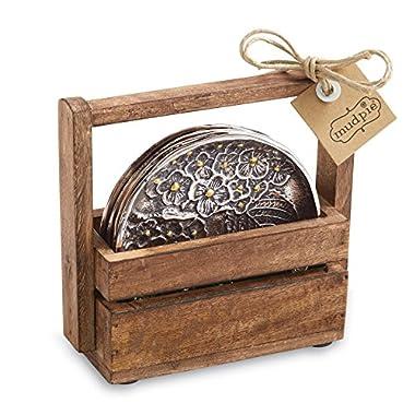 Mud Pie Hydrangea Coaster Set, Silver