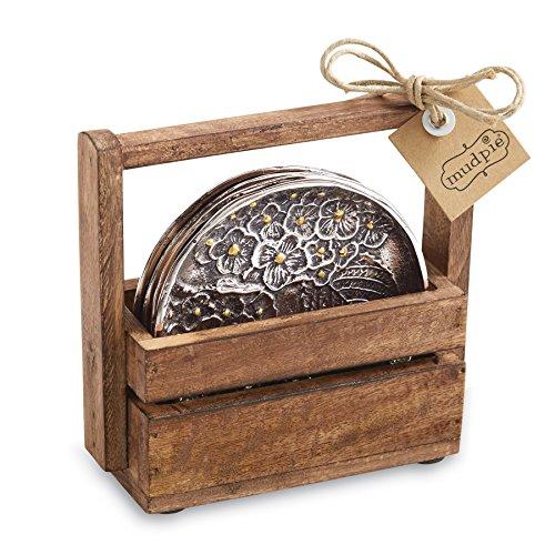 Mud Pie Hydrangea Coaster Silver