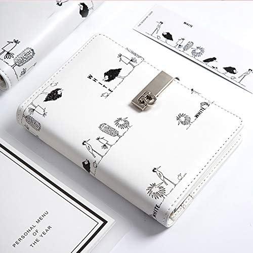 BNSDMM Leder Tagebuch Journal Student Tagebuch-Buch Tragbares Notepad Einbau-Binder Notebook Bürobedarf Spiralbindung (Color : White)