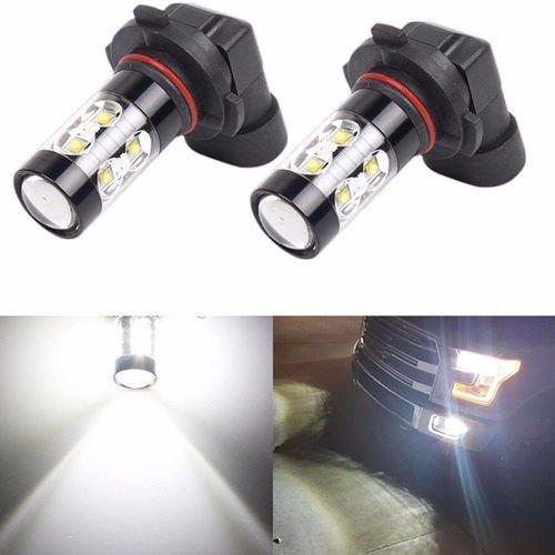 Super Bright Max 50W High Power LED Bulbs for DRL or Fog Lights, Xenon White (9006 Fog Bulbs)