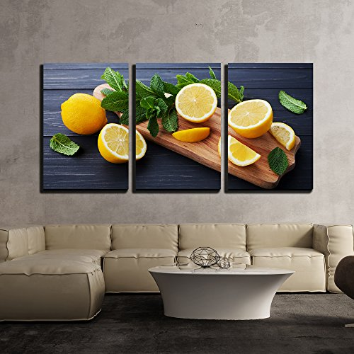 wall26 - 3 Piece Canvas Wall Art - Lemon and Mint Leaves Served on Wooden Kitchen Board on Black Rustic Table - Modern Home Decor Stretched and Framed Ready to Hang - 16