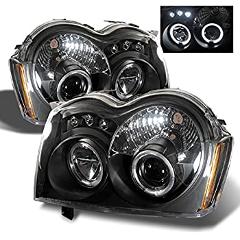 for jeep grand cherokee black bezel dual halo ring projector led  replacement headlights lh/rh head lamps
