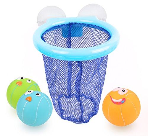 Bath Toy, Basketball Hoop Bathtub Bath Toy for Boys and Girls with 3 Balls (Blue)