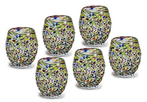 Mexican Hand Blown Glass Confetti Barrel Tequila - Whisky - Vodka Shots - Tequilero de Vidrio Soplado Barril Confeti Original Artisan (6 Pack) -