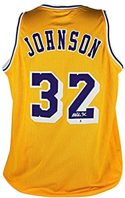 823472e5acd Magic Johnson Signed Jersey - Yellow BAS Witnessed - Beckett Authentication  - Autographed NBA Jerseys