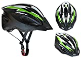 Moon CPSC Safety Certified Adjustable Cycling Bike Helmet for Adult Men & Women and Teen Boys & Girls,with LED Lamp Light and Visor,Specialized for Cycling/Road Racing/MTB,X-Large(Green)