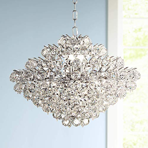 "Essa 24"" Wide Chrome and Crystal Pendant Light - Vienna Full Spectrum"