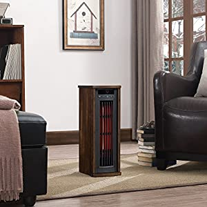 Duraflame 5HM7000-NC04 Portable Electric Infrared Quartz Oscillating Tower Heater, Cherry