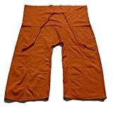 Original Thai Fisherman Yoga Pants Travel Pants Unisex Trouser Thai Hand Weave Cotton Solid Dark Orange Rock