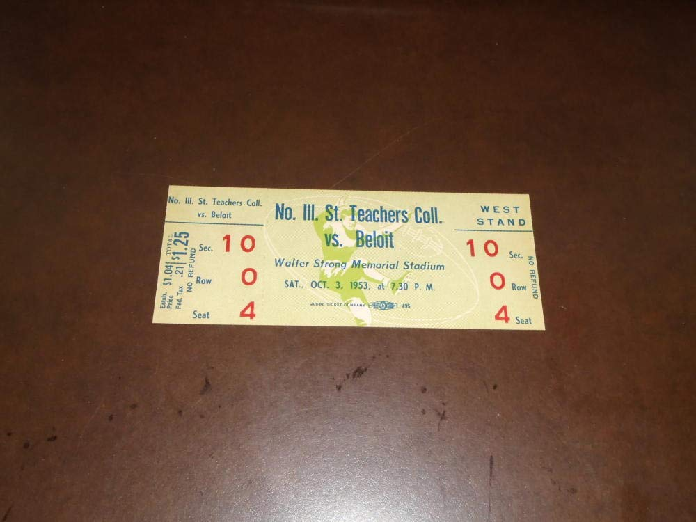 1953 NORTHERN ILLINOIS STATE AT BELOIT (WI) COLLEGE FOOTBALL FULL TICKET NEAR MINT