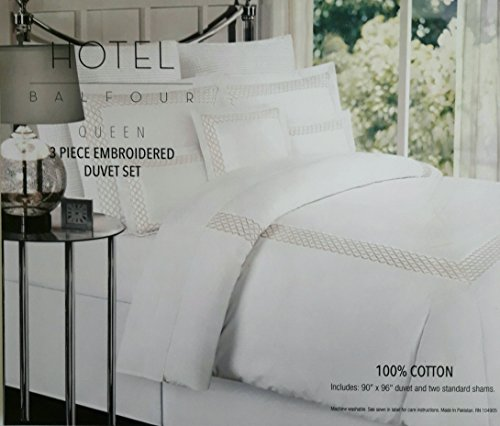 Hotel Balfour Luxury Embroidered Frame Queen Duvet Cover and 2 Standard Shams 100% ()