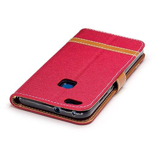 Para Huawei P10 funda, (Vaquero rosa roja) Dril de algodón de colores mezclados caja del teléfono móvil de cuero PU Leather cubierta Función de Soporte Billetera con Tapa para Tarjetas correa de mano  Vaquero rojo