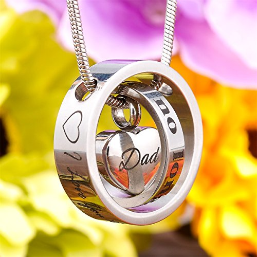 Housweety Cremation Urn Necklace Keepsake Ashes Holder Memorial Urn Pendants with I love you to the moon and back Dad by Housweety (Image #2)'