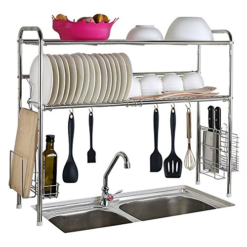 1208S Dish Dryer Rack 2-Tier Stainless Steel Sink Storage Shelf Flexible Kitchen Cutlery Holder